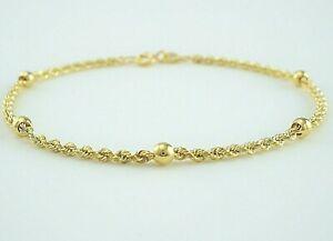 【送料無料】ネックレス イエローゴールドロープチェーンボールブレスレット9ct yellow gold rope chain amp; balls bracelet