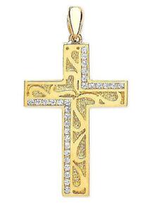 【送料無料】ネックレス イエローゴールドポリッシュテクスチャーデザイナークロスチェーンオプション9ct hallmarked yellow gold polished amp; textured designer pave set cross chain opt