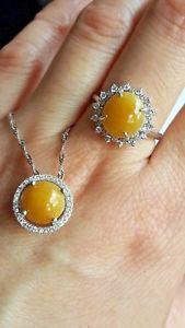 【送料無料】ネックレス タイプシルバーリングペンダントチェーンセットgenuine 695ct honey jadeite jade type a silver ring amp; pendant set with chain