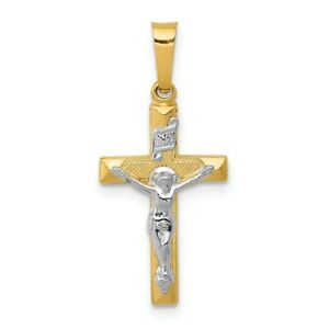 【送料無料】ネックレス トーンカラーソリッドゴールドクロスペンダントグラム14k twotone solid gold inri hollow crucifix cross pendant 048 gram