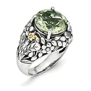 【送料無料】ネックレス グリーンクォーツリングスターリングシルバーkゴールドアクセントサイズgreen quartz ring 925 sterling silver amp; 14k gold accent size 68 shey couture