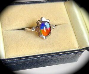 【送料無料】ネックレス リングシルバーサイズammolite ring 925 silver size n certified amazing colours bnwt