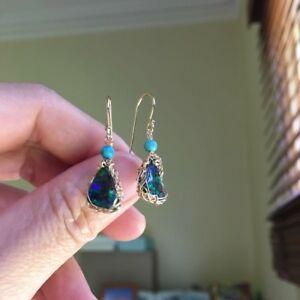 【送料無料】ネックレス オーストラリアボルダーオパールイヤリングaustralia boulder opal earringsdangler in 14kgf wnatural calaite originalworks