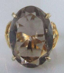 送料無料 ネックレス イエローゴールドスモーキークオーツリングサイズsecondhand 9ct yellow 10%OFF gold large ring 激安通販 quartz n size smoky oval