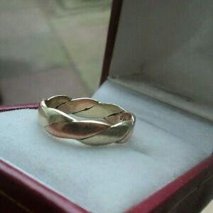 <title>送料無料 ネックレス イエローローズゴールドファッションリングサイズ9ct yellow amp; rose gold weave patterned wedding or fashion 大決算セール ring c1980s size m</title>