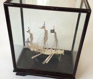 送料無料 ストア ネックレス ビンテージシルバーガラスケースモデルジャンクbeautiful vintage 925 hong kong silver glass ship model 当店一番人気 in sailing case junk