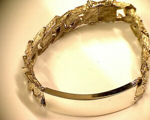 送料無料 ネックレス vintage sterlingidentity 輸入 bracelet flat curb barkeffect silver 今だけ限定15%OFFクーポン発行中 1978 b identity heavy sterling 66gvintage