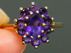 <title>送料無料 ネックレス ゴールドkゴールドヴィンテージアメジストクラスタリングサイズ9ct gold 9k vintage amethyst cluster hallmarked 評価 ring size p</title>