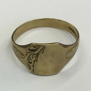 <title>送料無料 ネックレス ヴィンテージ9ctイェローゴールドサイズu12vintage solid 9ct 未使用 yellow gold mens uninscribed signet ring size u12</title>