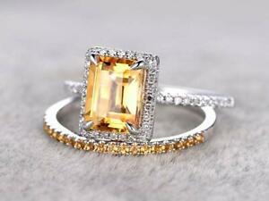 <title>送料無料 ネックレス 14kホワイトゴールド250ctエメラルドカットレモン250ct emeraldcut citrine bridal set engagement ring 14k white gold 国内即発送 over</title>