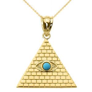 <title>売却 送料無料 ネックレス イエローゴールドエジプトターコイズペンダントピラミッドyellow gold egyptian pyramid with turquoise evil eye pendant</title>