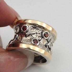 送料無料 ネックレス ハダルデザイナーハンドメイドイエローゴールドシルバーガーネットリングミリhadar designers handmade 9k yellow gold 925 9 garnet 8 高価値 限定タイムセール cz silver 75 ring 7 ms