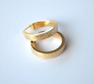 <title>送料無料 ネックレス イエローゴールドギリシャデザインフープイヤリンググラム14k yellow gold edged greek key ご予約品 design textured hoop earrings 17 grams</title>
