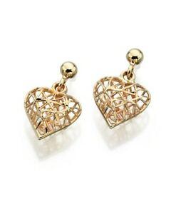 <title>送料無料 ネックレス イヤリングイエローゴールドイヤリングケージハートドロップイヤリングgold 2020モデル earrings 9ct yellow gold caged heart drop ge841</title>