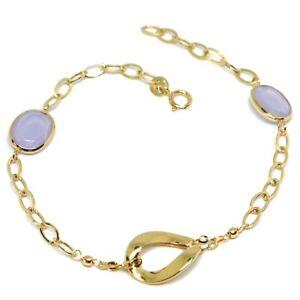 【送料無料】ネックレス イェローゴールド18k 750ジルコンサテンbracelet yellow gold 18k 750, zircon purple satin, central oval wavy