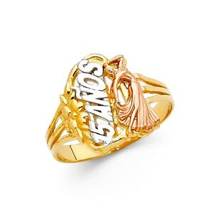 【送料無料】ネックレス ソリッドゴールドマルメリング14k real tri color solid gold quince 15 aos quinceaera ring oro solido anillo