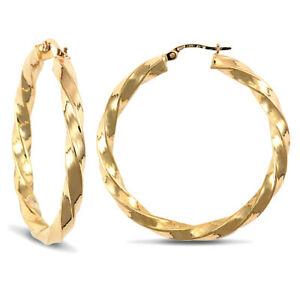【送料無料】ネックレス レディースゴールドツイストフープイヤリングladies 9ct gold twisted 4mm hoop earrings 36mm