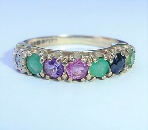 【送料無料】ネックレス ゴールドリングサイズ9ct gold dearest ring, multi gemstone, size i12
