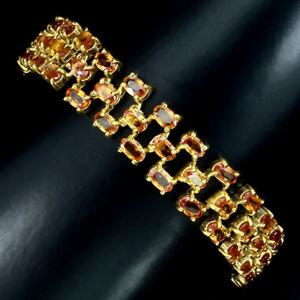 送料無料 ネックレス スターリングシルバーゴールドコーティングオレンジサファイアブレスレットインチsterling silver 日時指定 925 gold 倉庫 coated natural orange bracelet inch sapphire row 3 712