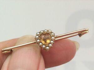 【送料無料】ネックレス ビクトリアシトリンハートストーンシードパールブローチbeautiful victorian 9ct citrine cabachon heart stone amp; seed pearl brooch