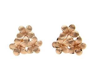 【送料無料】ネックレス ソリッドkローズゴールドハワイアンプルメリアクラスタスタッドポストイヤリングsolid 14k rose gold hawaiian plumeria flower cluster stud post earrings 15mm
