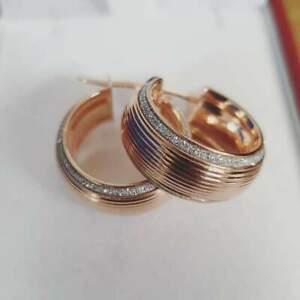 ネックレス 9ct37gmoondustイアリング9ct rose gold 37g wide ribbed moondust edge earrings