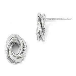 ネックレス 14kホワイトゴールドケーブルポストイアリング14k solid white gold love knot cable design stud post earrings gift