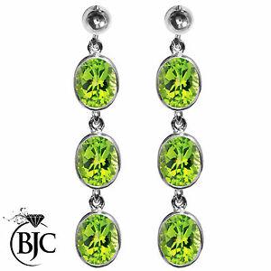 ネックレス 3bjcrスターリングペリドットイアリングbjc sterling silver natural peridot oval triple drop dangling studs earrings