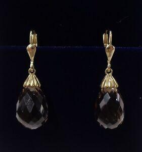 送料無料 マーケティング ネックレス スモーキークオーツドロップイヤリングイエローゴールドカットsmoky 低価格化 quartz drop earrings 9ct mm length 30 yellow gold briolette cut