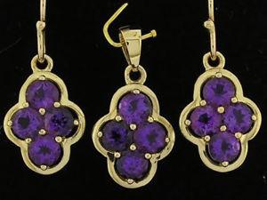 送料無料 ネックレス ソリッドkゴールドアメジストクラスタドロップイヤリングペンダントe053 solid 9k gold natural amethyst cluster drop earrings amp; pendant matching set