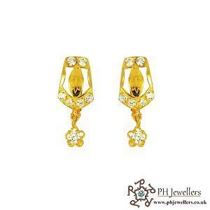 ネックレス イヤリングイエローゴールドクリップ22ct 916 yellow gold clip on earring cz ce22