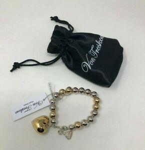 送料無料 ネックレス フォンシルバーゴールドハートボールブレスレットドル von treskow silver amp; gold heart ball bracelet rrp 390 銀婚式 割引セール 年始 安心と信頼のショッピング 送料無料