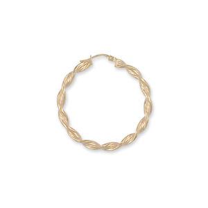 【送料無料】ネックレス イエローゴールドツイストフープイヤリング9ct yellow gold barked twist hoop earrings