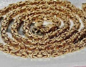 【送料無料】ネックレス シルバーインチビザンチンソリッドリンクチェーンメンズレディースイエローゴールド9ct yellow gold on silver 30 inch square byzantine solid link chain mens ladies