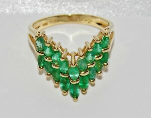 【送料無料】ネックレス ゴールドエメラルドウィッシュボーンリングサイズソリッドkゴールド14ct gold emerald 2 row marquise cut wishbone ring size n solid 14k gold