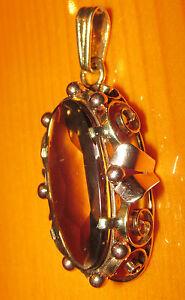 ネックレス secondhand 9ct yellow gold large oval smoky quartzpendantsecondhand 9ct yellow gold large oval smoky quartz pendant