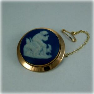 【送料無料】ネックレス ビンテージウェッジウッドカメオブローチピンゴールドアンプvintage wedgwood cameo brooch pin, 9ct gold, circa 1930 from cropp amp; farr