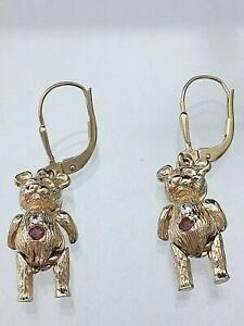 【送料無料】ネックレス ゴールドテディベアイヤリングメッキセットgenuine 9ct gold hallmarked teddy bear earrings not filled or plated stone set