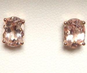 【送料無料】ネックレス ローズゴールドピーチスタッドイヤリングオーバル×14k 14 ct rose gold genuine natural peach morganite stud earrings oval 7 x 5 mm