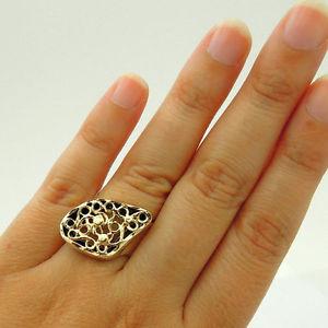 【送料無料】ネックレス hadarデザイナー9kイェローゴールド92565789r429hadar designers filigree 9k yellow gold 925 silver ring 65, 7,8,9 i r429