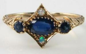 【送料無料】ネックレス dainty9k9ctgoldスリランカblue sapphire opal artdeco ins ring free resizedainty 9k 9ct gold sri lankan blue sapphire opal art de