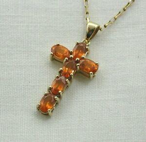 【送料無料】ネックレス ゴールドオレンジベリルクロスペンダントチェーンa lovely 9ct gold and orange beryl cross pendant on 9ct chain