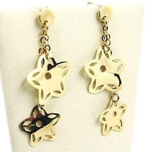 【送料無料】ネックレス イヤリングイエローゴールドドロップダブルチェーンイタリアdrop earrings yellow gold 750 18k, flowers stars, double chain italy made