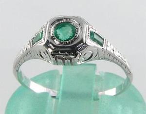 【送料無料】ネックレス ホワイトゴールドコロンビアエメラルドアールデコインリングフリーサイズdainty 9k 9ct white gold colombian emerald art deco ins ring free resize