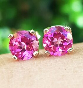 【送料無料】ネックレス ピンクトパーズkktソリッドホワイトゴールドスタッドイヤリング322ct genuine pink topaz 14k 14kt solid white gold studs earrings free shipping