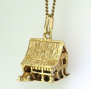 【送料無料】ネックレス イェローゴールドlog cabin charm14kゴールドyellow gold log cabin charm guaranteed genuine 14k gold