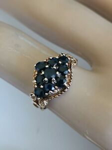 【送料無料】ネックレス sapphire 9cluster ring9ctイェローゴールド1978カットsapphire 9 gemstone cluster ring deep blue round cut 9ct yellow gold 1978
