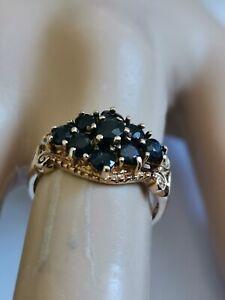 ネックレス sapphire 9cluster ring9ctイェローゴールド1978カットsapphire 9 gemstone cluster ring deep blue round cut 9ct yellow gold 1978