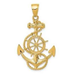 【送料無料】ネックレス イエローゴールドアンカーホイールペンダント14k yellow gold large anchor w wheel pendant