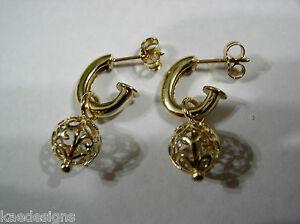 【送料無料】ネックレス イエローゴールドボールフックイヤリングkaedesigns, genuine 9ct yellow gold filigree ball hook earrings